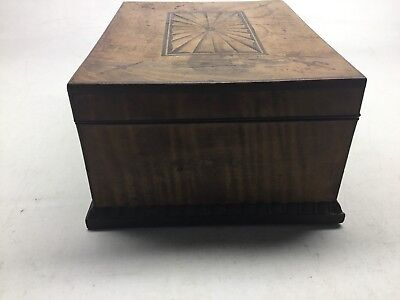 Antique Tiger Maple, Mahogany, And Satinwood Inlay Jewelry Box 9