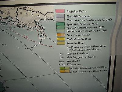 ALTE LEHRKARTE LANDKARTE schulwandkarte old school wall map welt im ...