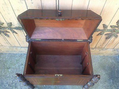 Antique Early 19th Century Inlaid Mahogany Sarcophagus Shaped Wine Cellarette 11