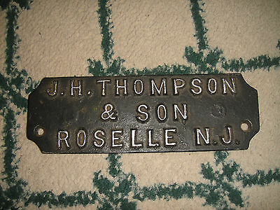 Antique Steel Name Plate Wall Plaque-JH Thompson & Son Roselle New Jersey-RARE 2