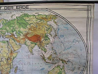Schulwandkarte schöne alte Weltkarte Erdkarte 213x118cm vintage map von 1941 gut 3