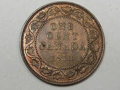 Unc 1913 Canadian Large Cent Penny (Red-Brown). CANADA.  #138 4