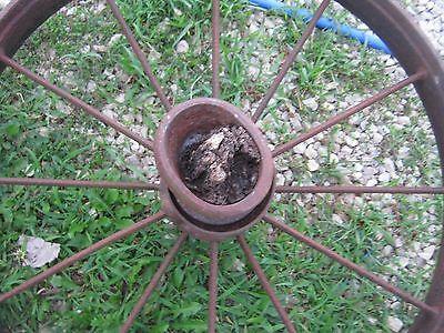 """Vintage Rustic Iron Farm Implement Wheel 32"""" diameter x 4"""" wide Farm decor 3"""
