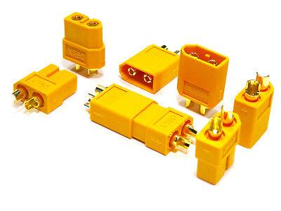 10 Stück (5 Paar) XT60 Nylon ESC Lipo Akku Stecker Buchse + Schrumpfschlauch 60A 6