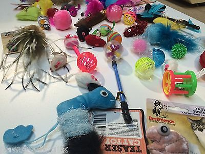 20 X  Bulk Buy Cat Kitten Toys Rod Fur Mice Bells Balls  Catnip BARGAIN JOB LOT 8