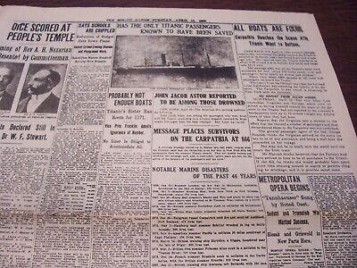 TITANIC NEWSPAPER 1912 Boston Globe/Marsh Murder Story/Ty Cobb Quits Team  !!!!! 4