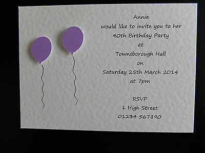 10 Handmade Personalised Birthday Invitations 18th 21st 30th 40th 50th 60th 70th 3