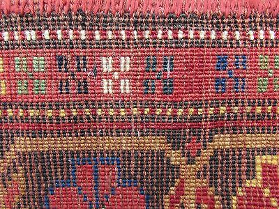 Antique Traditional Hand Made Caucasian Rug Red Green Wool Oriental Rug 142x99cm 11