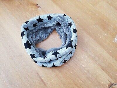uk baby kids winter scarf snood faux fur very warm, grey/stars 2