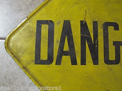 Old Industrial Factory DANGER Metal Sign Stonehouse Denver lipped edge back mnt 4