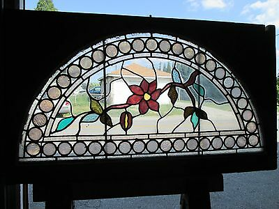 ~ GREAT ANTIQUE AMERICAN STAINED GLASS WINDOWS FLOWERS ~ 44 x 25 ~ SALVAGE 8