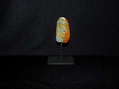 Pre-Columbian Ceremonial Jade Pendant, Custom Stand, Blue Jade, Translucent Jade 2
