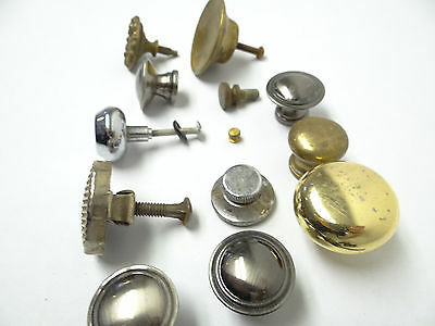 Antique & Vintage Used Old Mystery Metal Brass Drawer Pulls Hardware Round Knobs 8