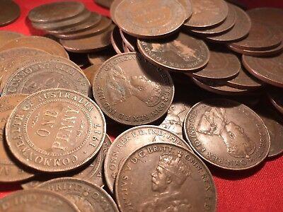 Australian KGV Pennies. Pre Decimal Coins. x20 Big Variety Of Years. 3