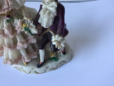 Antique Dresden Porcelain Figurines, Vintage, Stamped, Perfect State, Rare Piece 5