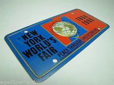 1964-65 New York World's Fair UNISPHERE Bicycle Lic Plate NYWF raised UniSphere 8