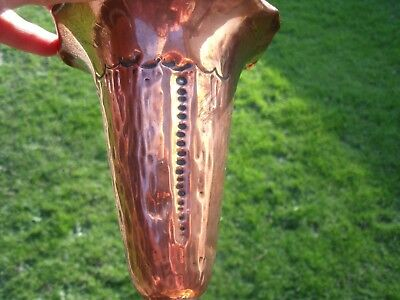 Arts and Crafts Copper Vase with Wavy Rim & lightly hammered pattern. 7