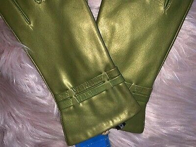 Metallic green goat skin leather gloves by Jeronimo Made in Italy size 8 2