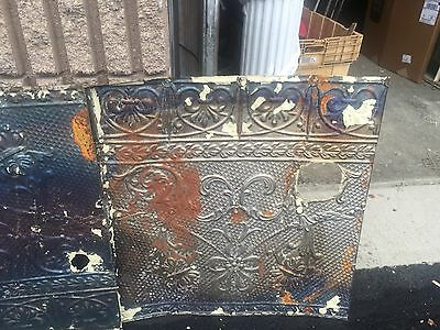 "GORGEOUS antique VICTORIAN tin ceiling pressed edge pattern 5- 24"" sq pcs AS IS 9"