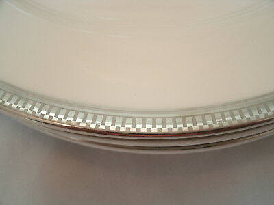 Epoch CENTURY PLATINUM 4 Replacement Tea Cup Saucers (only) #E207 Encrusted Band 3