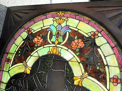 10.5' Monumental Jeweled Antique Stained Glass Portrait Window  Ny Estate # 1 2