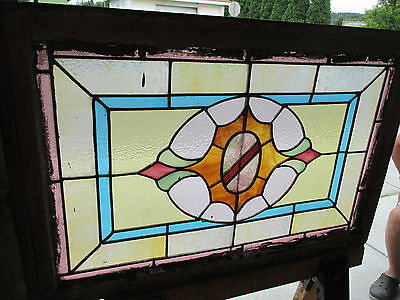 ANTIQUE AMERICAN STAINED GLASS WINDOW 36 x 24 ~ ARCHITECTURAL SALVAGE~ 4