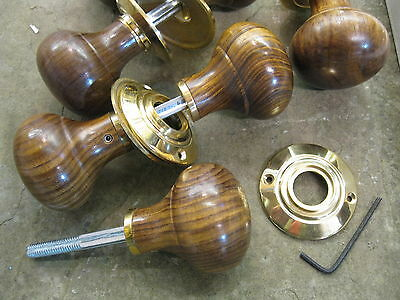 Pair of Victorian Edwardian Reproduction Rosewood Bun Door Knobs & Roses RES4 2