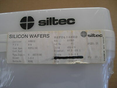 1X Silicon Wafer SILTEC 100mm Diameter N-Type 1-0-0 Orientation ANTIMONY Dopant
