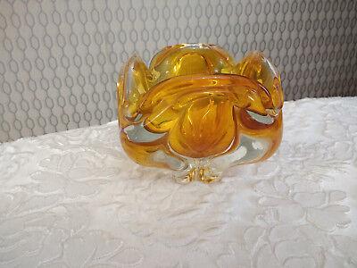 Vintage Bohemian Art Glass Hand Cut Czech Heavy Decor Bowl With Box 9