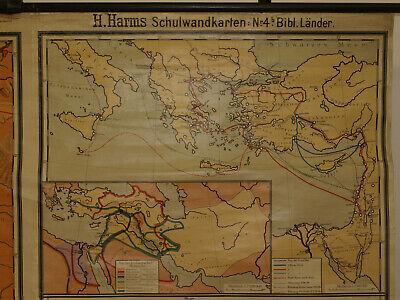 Alte Schulwandkarte Wandkarte Palästina Biblische Länder 202x149cm vintage~1925 7