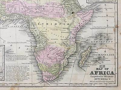 "Hand-Colored Map of Africa (1855)-""Mitchell's School Atlas"" 2"