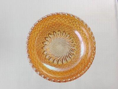 "Rare 6"" Sowerby Carnival Glass Bowl Pinwheel Pattern Marigold Colour 5"