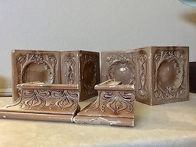 Antique Italian Glazed Brick Tile Fireplace Mantle, Fireplace Tiles Set Of 6