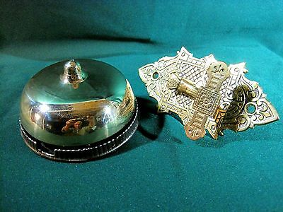 Doorbell Antique Brass Bell Ornate Brass Ringer Handle  1800`s Works Restored