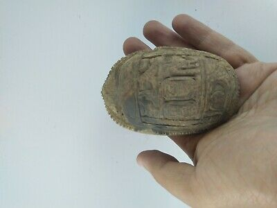 ANCIENT EGYPTIAN ANTIQUE SCARAB Carved White Carved Stone 1456-1256 BC 8