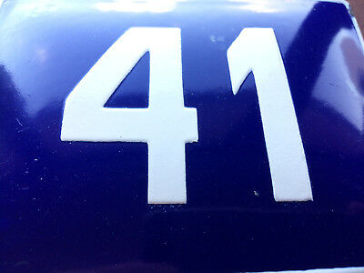 ANTIQUE VINTAGE EUROPEAN ENAMEL SIGN HOUSE NUMBER 41 DOOR GATE SIGN BLUE 1950's