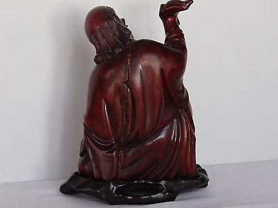 Escultura Estatuilla Japonés de Madera Hierro Ojos Sulfuro Shapes Mano 1900 C424 3