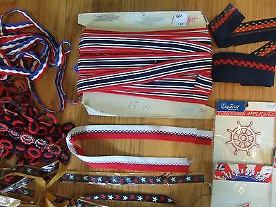 lot yds vintage nautical patriotic trim ribbon patches embroidered star anchor + 3