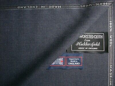 VINTAGE STYLE DK NAVY,RIB WEAVE MADE IN ENGLAND 3.5M 100/% WOOL SUITING FABRIC