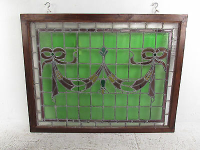 Vintage Stained Glass Ribbon Hanging Window (1265)NJ 4