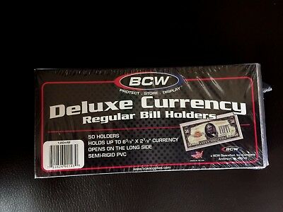 100 BCW Deluxe Semi Rigid Currency Sleeve Regular Bill Banknote Holder PVC Case 2