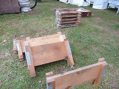salvaged ANTIQUE WOODEN warehouse factory tray RISER stands galvanized & WOOD 5