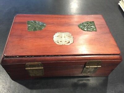 Chinese Rosewood Box with Jade Pieces on Top 12