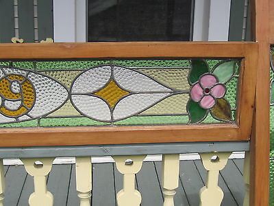 Set Of 3  Antique Victorian Stained Glass Window Transom Ans Side Door Architect 3