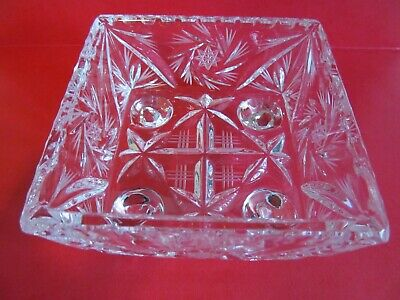 Crystal Glass Bowl Dish 4 inch Square Footed Pinwheel Etched Stars Faceted Vtg 3