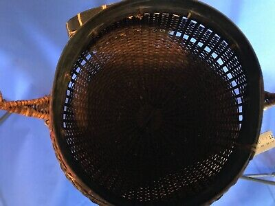 Antique Vintage Asian Hand Woven Basket w/ Handle & Lid - Chinese Japanese 8