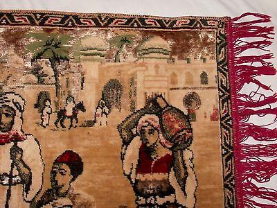 BELGIUM Made, Vintage Rug Wall Hanging Tapestry w Fringe, Woman Dancing SUPERB! 8