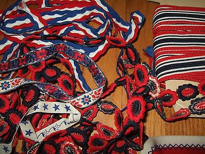 lot yds vintage nautical patriotic trim ribbon patches embroidered star anchor + 9