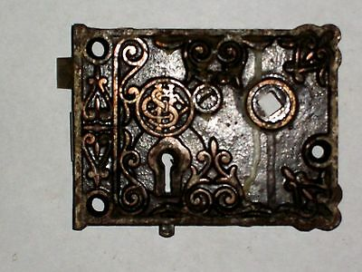 Antique SHC Eastlake Era Decorative Rim Lock 3