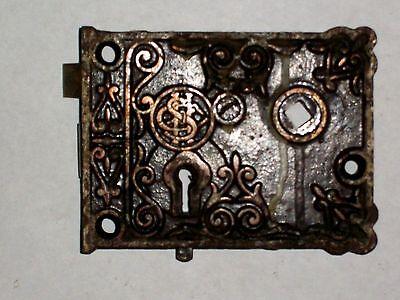 Antique SHC Eastlake Era Decorative Rim Lock 3